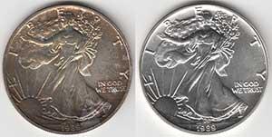 Münzenreinigung vorher und nachher